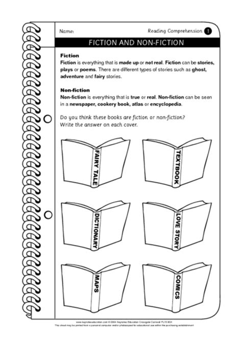 fiction and non fiction worksheet for 3rd 4th grade