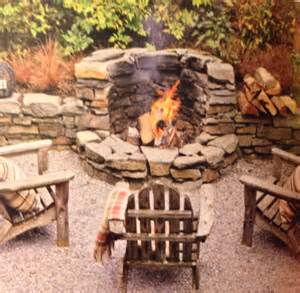 Stone Fire Pit with Seating Wall