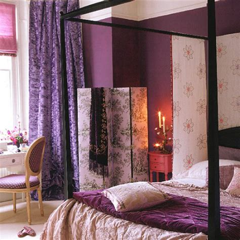 purple bedroom curtains being touched by purple decogirl montreal home
