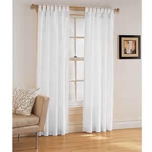 Tab Top Sheer Curtain Panels by Aspen Tab Curtain Panel White Decor Walmart Com
