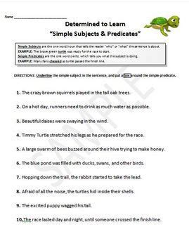 subjects and predicates simple complete worksheets