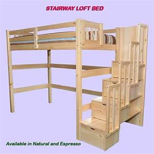 Encore Stairway Single Loft Bed Natural - Scanica ...