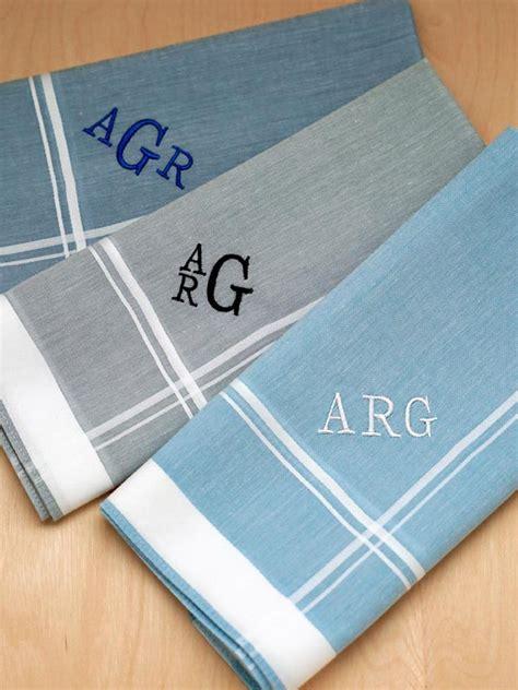free shipping 3 mens monogrammed handkerchiefs script set of 3 mixed blue gray monogrammed mens handkerchiefs