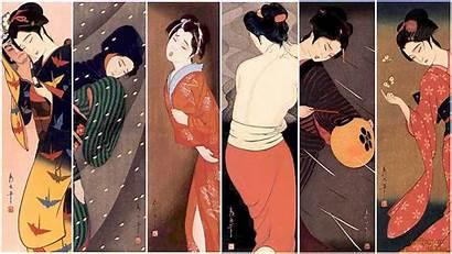 Geisha Japanese Wallpapers Posing Yakuza Minimalist Artwork