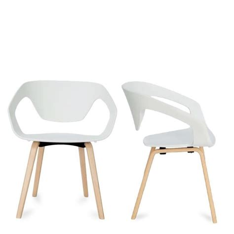 chaise nordique lot de 2 chaises design scandinave danwood couleur blanc