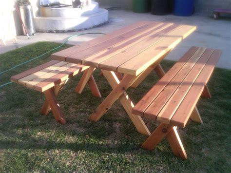 Woodwork Picnic Table Plans Detached Benches Pdf Plans