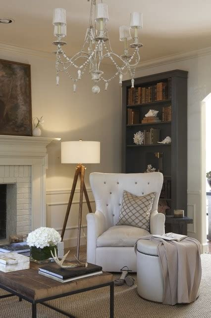 chic living room gray tripod floor l living room shabby chic with chandelier Shabby