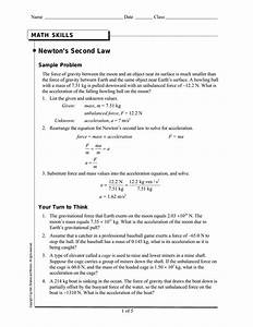 Newtons Second Law Math Practice Force Diagrams Worksheet