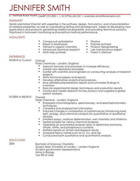 Science Resume Template by Chemist Cv Template Cv Sles Exles
