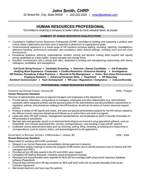 Human Resources Resume Format by Human Resource Professional Resume Sle Template