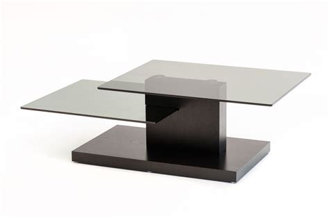 Modrest Dove Contemporary Black Oak And Glass Coffee Table