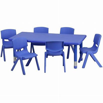 Table Chairs Plastic Activity Rectangular Furniture Stack