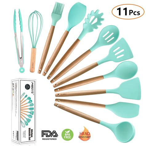 utensils kitchen cooking silicone utensil wooden tool spatula sets spoon gadgets cookware tools amazon turner pieces dishwasher acacia handle non