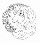 Unicorn Coloring Outline Portrait Santa Depositphotos sketch template