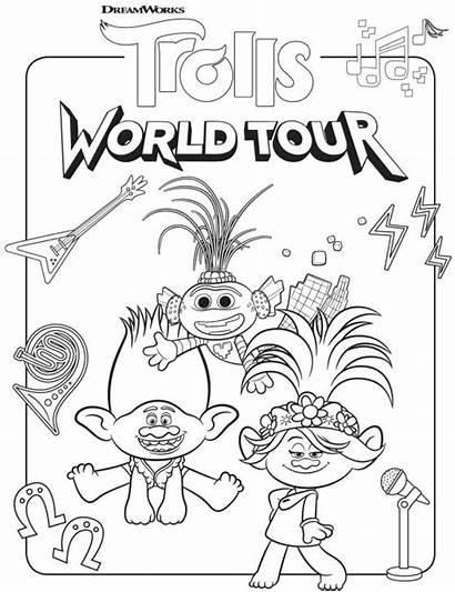 Trolls Coloring Tour Pages Printable Colorear Para