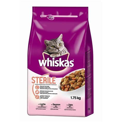 whiskas sterile trockenfutter fuer katzen mit lachs von