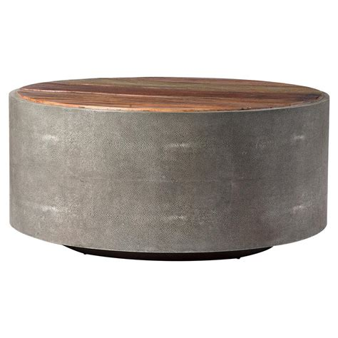 round wood coffee table dieter rustic modern grey faux shagreen wood round coffee