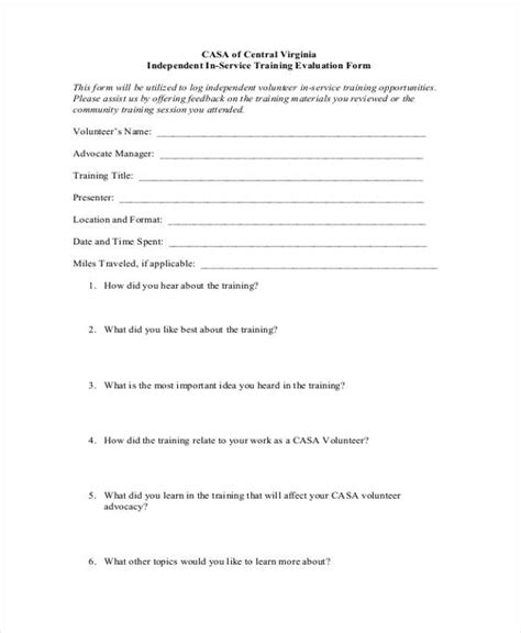 free 27 training evaluation form exles pdf