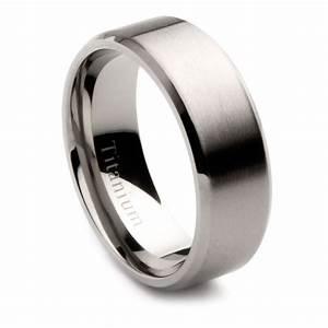 Mens Titanium Brushed Center Wedding Band 8mm EBay