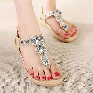 Women Sandals Comfort Flat Sandals High shine Rhinestone ...