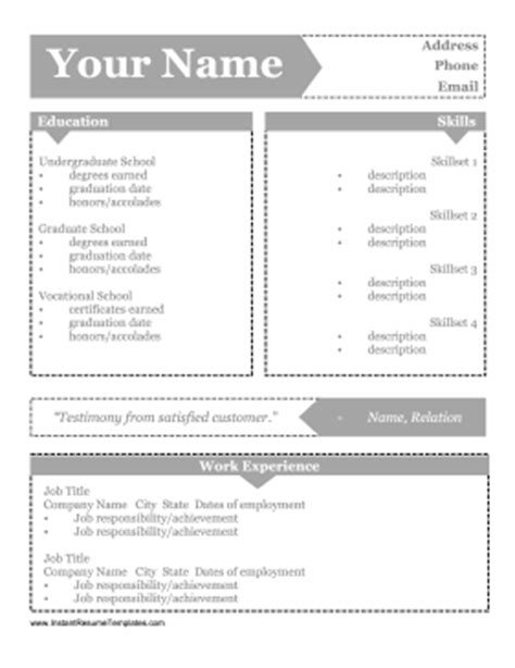 arrow boxes resume template