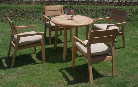 5 pc outdoor dining teak set 36 quot table 4