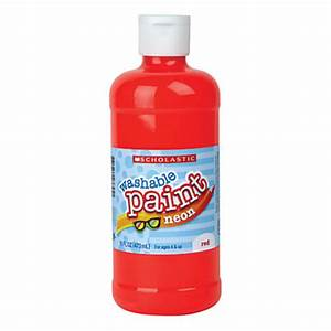 Scholastic Washable Neon Tempera Paint 16 Oz Neon Red by