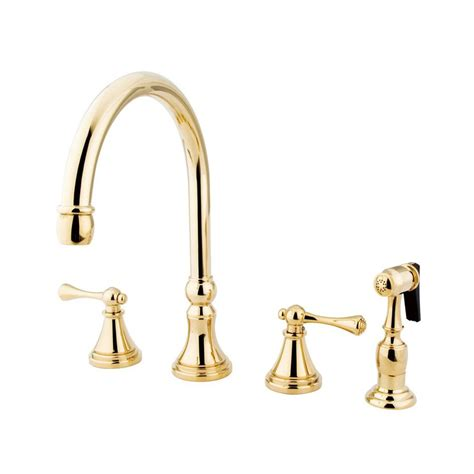 style kitchen faucets shop elements of design polished brass 2 handle high arc