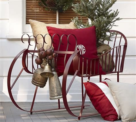 red metal sleigh pottery barn