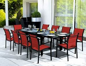 Table De Salon La Redoute : salon de jardin table 10 chaises rouge noir la redoute ~ Voncanada.com Idées de Décoration