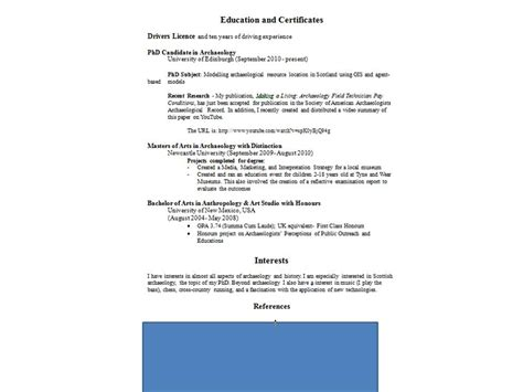 reinveting the archaeology cv resume doug s archaeology