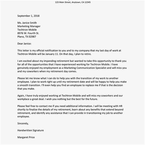 sample retirement letter  employer  letterbuiscom