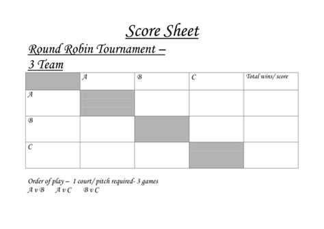 Tournament Draw Sheets Templates by Round Robin Tournament Sheets By Acropley Teaching