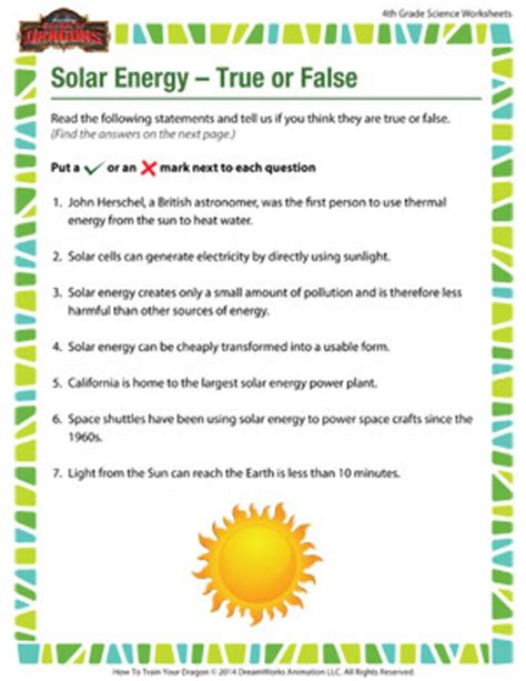 solar energy true or false printable 4th grade science
