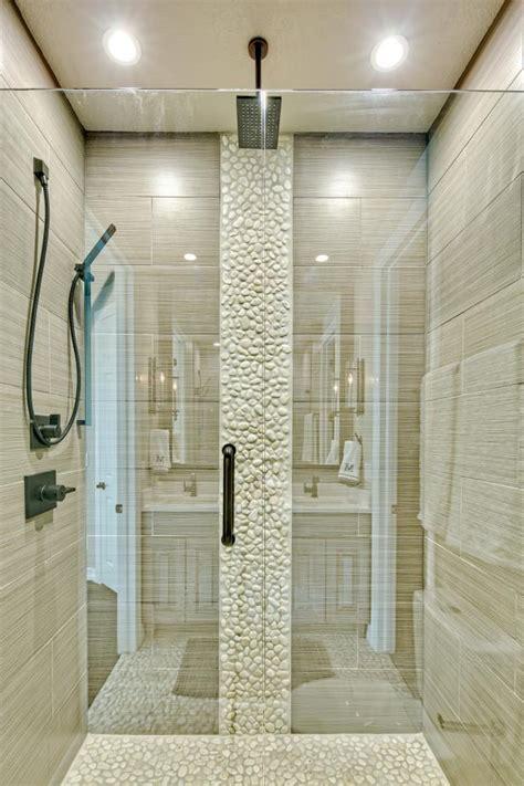 neutral walk  shower  white stones hgtv