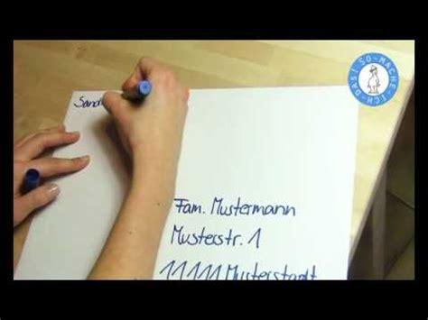briefumschlag beschriften  beschriften youtube