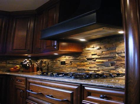 breakfast table designs stone backsplash  dark cabinets ledger stone backsplash interior