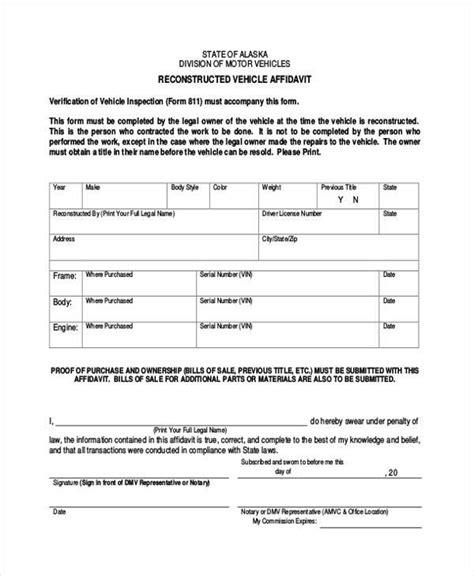 sample vehicle affidavit forms