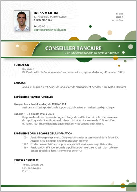 Cv En Ligne Gratuit Télécharger by Resume Format Modele De Cv Banque