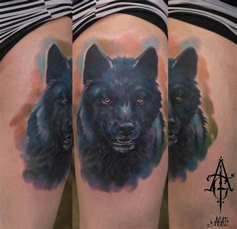 black wolf realistic tattoo  agat artemji  tattoo