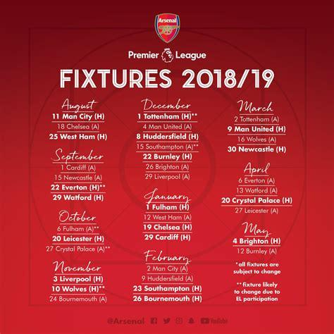 Released English Premier League 20182019 Fixtures For
