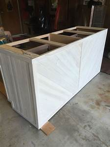 Kitchen, Island, Made, From, 2, Stock, Base, Cabinets, Wrapped, With, Tongue, And, Grooved, Cedar, Planks