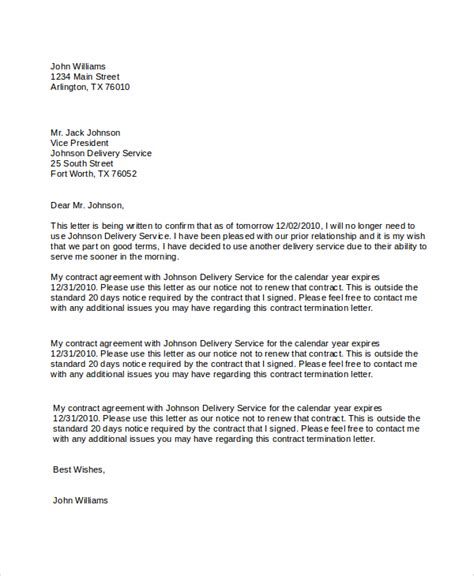 contract termination letter 6 sle contract termination letters sle templates