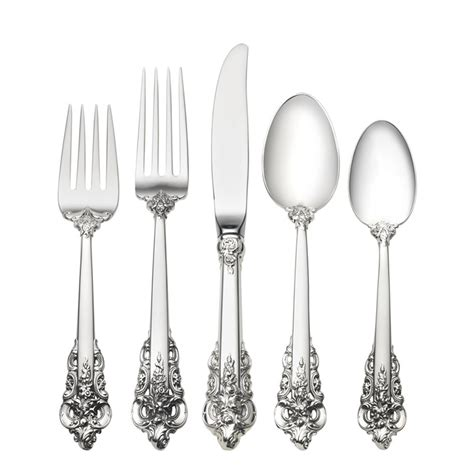 flatware sterling silver baroque luxury grande sets wallace spoon silverware lifetime piece setting place dinnerware cutlery tableware unique spoons forks