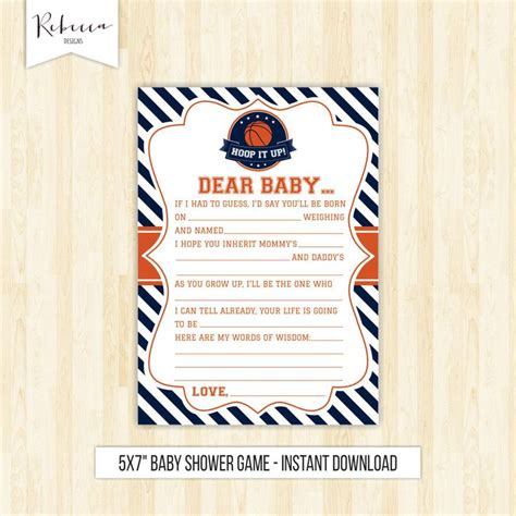 Basketball Baby Shower Game Madlib Game Letter To Baby
