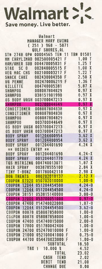 walmart receipt template the coupon faerie how to read your wal mart receipt when using coupons
