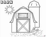 Barn Coloring Chicken Printable Sun sketch template