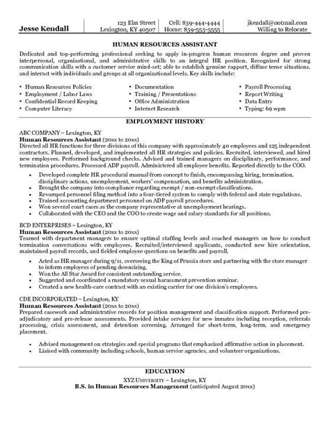 Human Resources Resume Objective by Exle Human Resources Assistant Resume Free Sle