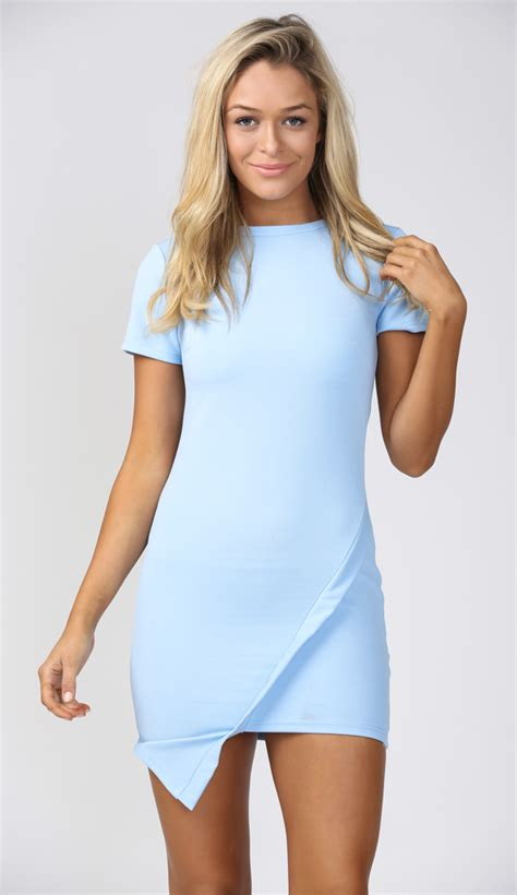 light blue cut up jeans you and me tonight bodycon dress in baby blue