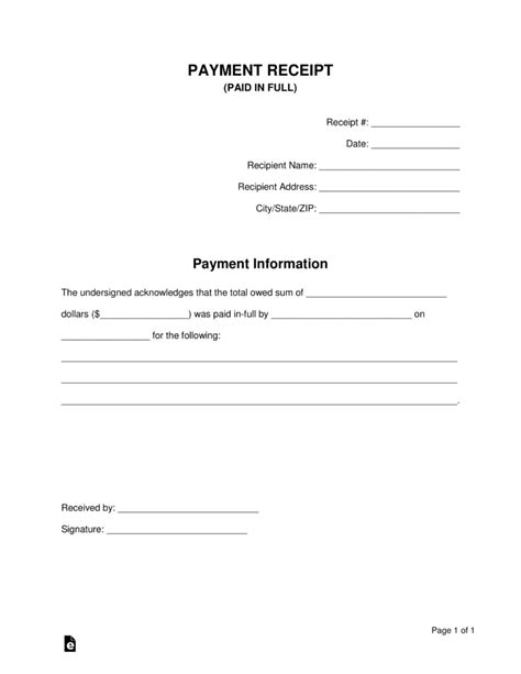 paid  full receipt template eforms  fillable forms